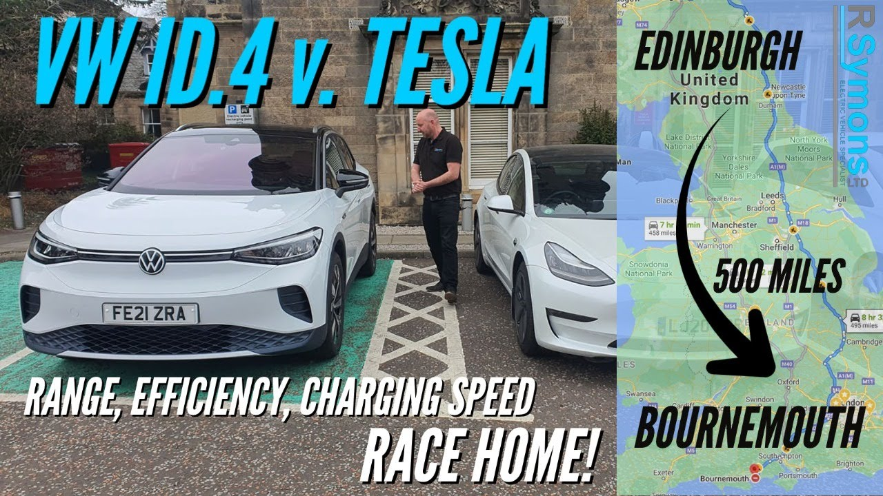 VW ID.4 v Tesla Model 3 EV Road Trip - efficiency/charging speed/real world range, AND then a RACE!