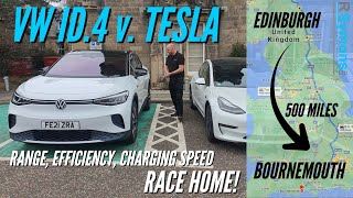 VW ID.4 v Tesla Model 3 EV Road Trip - efficiency/charging speed/real world range, AND then a RACE!
