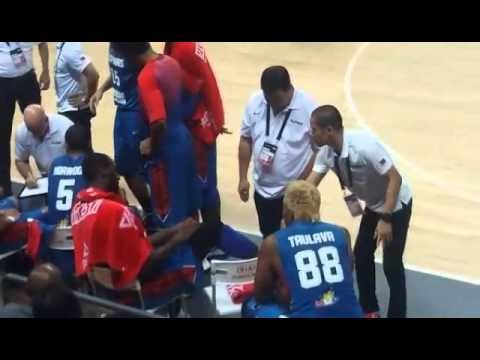Andray Blatche has his right ankle taped as he tries to fight on in Gilas-Japan match