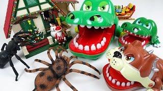 너무 큰 곤충은 먹기 어려워! 악어가족 불독친구와 산타를 구해줘! - 두두팝토이