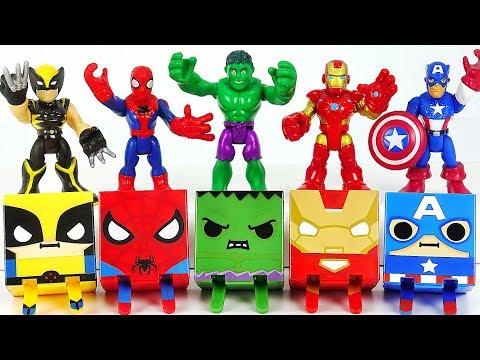 Marvel Avengers Hulk, Spider-Man, Iron Man Gacha Cube combine! Defeat Thanos, dinosaur! #DuDuPopTOY