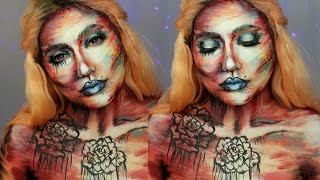 Abstract Watercolor Makeup / Body Painting Tutorial | Jordan Hanz