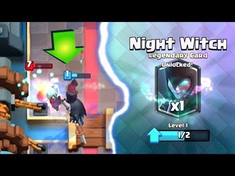 NIGHT WITCH GAMEPLAY   Clash Royale   Night Witch Unlocked at 12 Wins