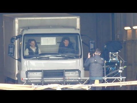Tom Cruise, Henry Cavill and Christopher McQuarrie on set of Mission Impossible 6
