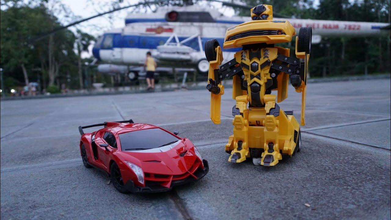 Đua xe ô tô đồ chơi điều khiển từ xa   Siêu xe Lamborghini vs ô tô biến hình rô bốt   MN Toys
