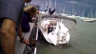 Monroe Harbor 7/1/2011 boat crashing into breakwall
