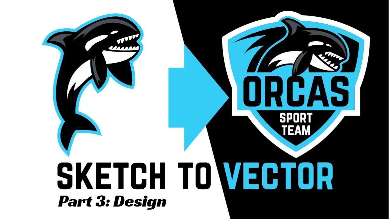 logo process final steps orca sport badge team swimming logo design