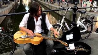 Amazing blues slide guitar - Street Musician