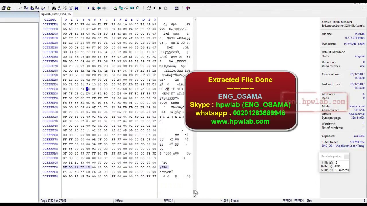 Lenovo 16MB Bios Extraction From EXE