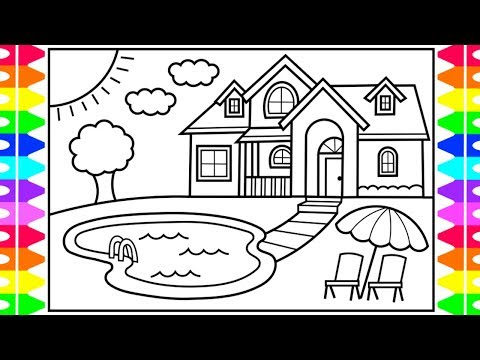How To Draw A House With A Pool For Kids House With
