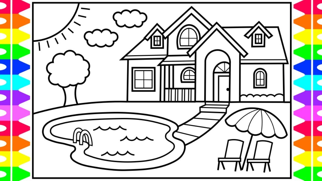how to draw a house  a pool for kids 💚💙💜 house