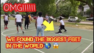 Guy with Biggest Feet in the world Hooping