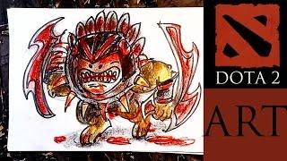 Рисую героев DOTA 2 / Как рисовать Blood Seeker из Доты,  Урок рисования для детей