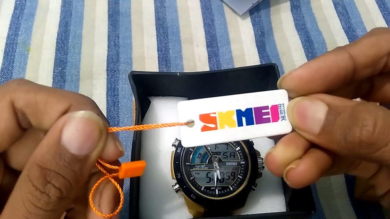 Unboxing Skmei 1016 Analog Digital Chronograph Watch Inr607 Full Jam Tangan Ad1016 Black Review