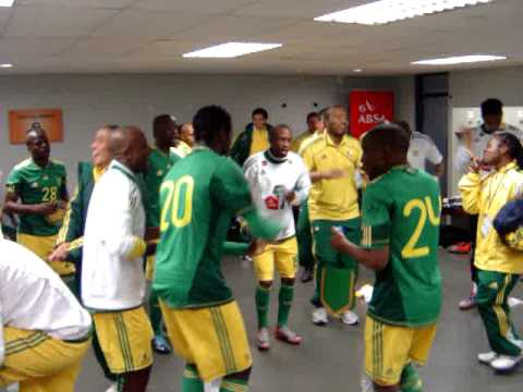 Bafana Bafana singing before a friendly game b4 World Cup 2010