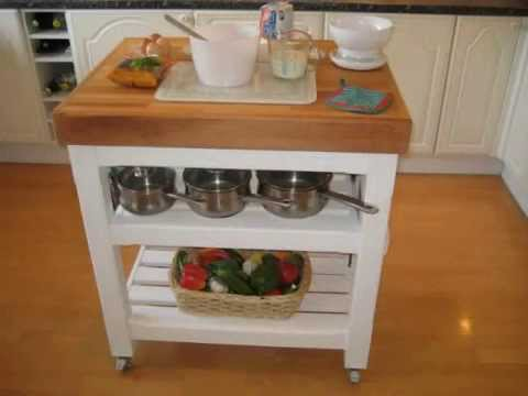 Hand Made Italian Style Butchers Block Table Trolley Kitchen Island With Oiled Beech Worktop