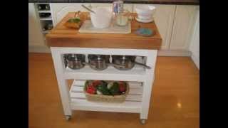 Hand Made Italian Style  Butchers Block  Table / Trolley Kitchen Island With Oiled Beech Worktop
