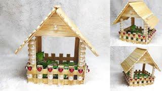 125) Ide kreatif - Tempat permen model rumah dari stik es krim || Popsicle ideas || easy popsicle