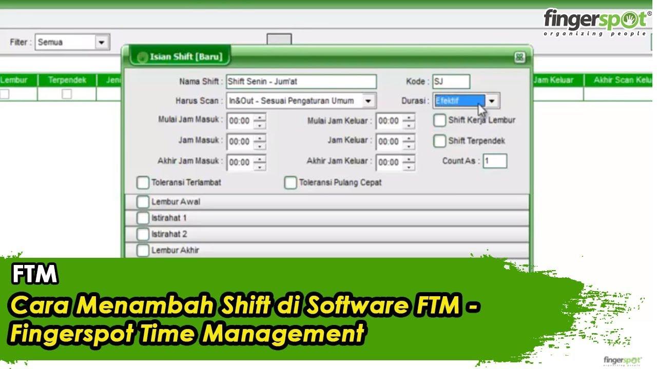 Cara Menambah Shift di Software FTM - Fingerspot Time Management