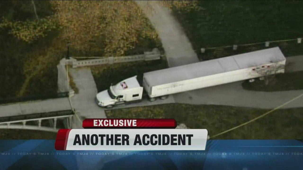 Truck Driver That Got Stuck On Footbridge Knocked Over