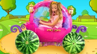 Princess Sasha Going to the Ball on the Carriage with Watermelon Wheels