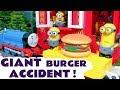 Thomas & Friends Minions McDonalds Drive Thru GIANT Burger Accident  - Funny toy trains story TT4U
