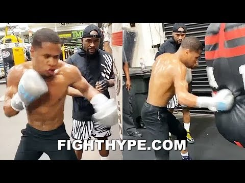 DEVIN HANEY GETS MAYWEATHER INSTRUCTIONS ON HOW TO LIGHT UP HEAVY BAGS; LATE-NIGHT TRAINING WITH TBE