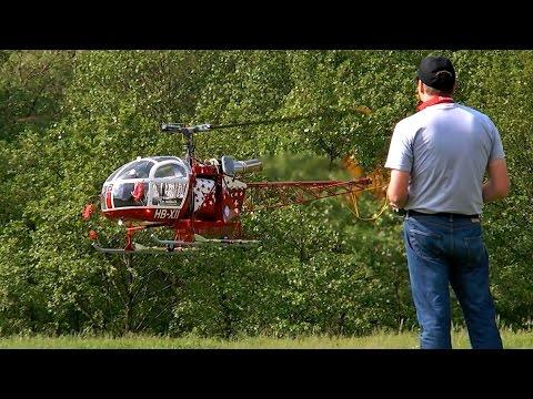 GIGANTIC RC LAMA SA 315B AIR ZERMATT TURBINE SCALE MODEL HELICOPTER FLIGHT DEMONSTRATION