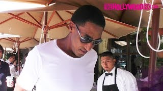 Scottie Pippen & Mohamed Hadid Have Lunch Together At Il Pastaio In Beverly Hills 9.26.17