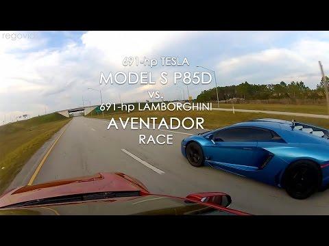 Tesla Model S P85D vs Lamborghini Aventador Race