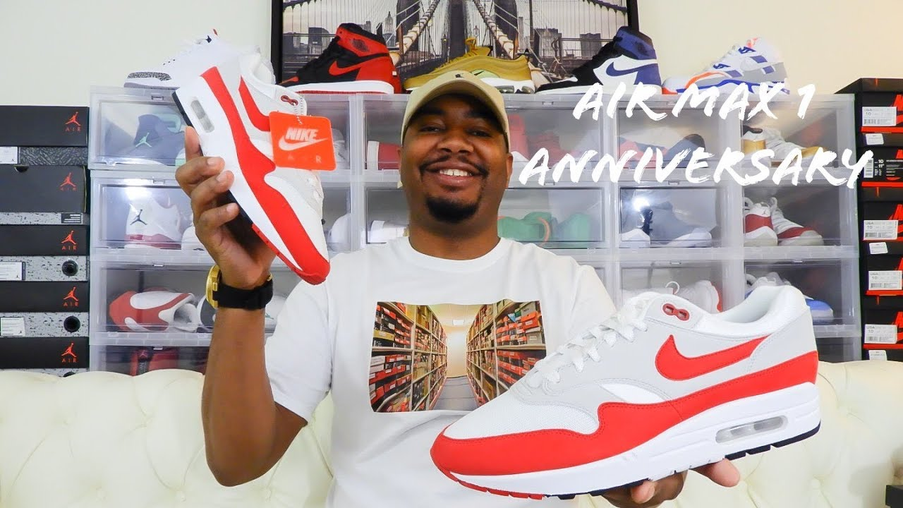 new concept 05147 3c3f8 Air Max 1 Anniversary White / Red 2018 Restock Review!!!
