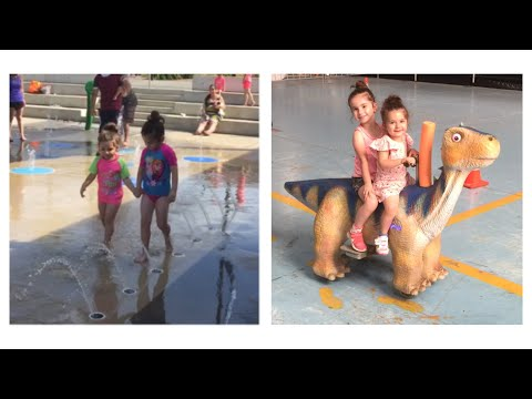 Fun in the sun water park play // market shopping!!