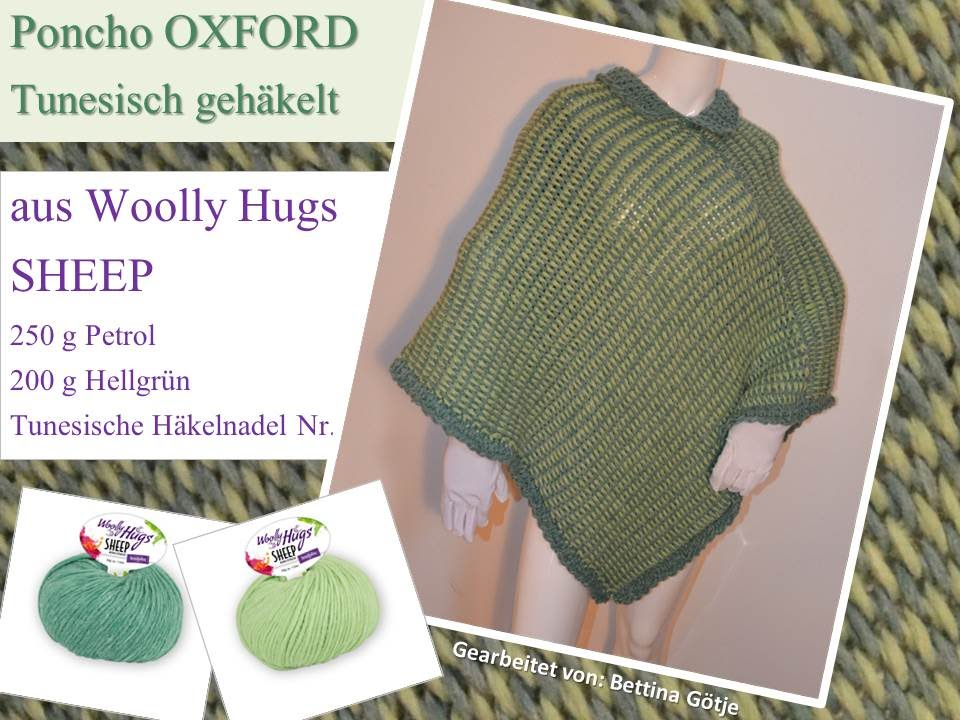 Poncho Oxford Woolly Hugs Sheep Tunesisch Häkeln Mit Veronika