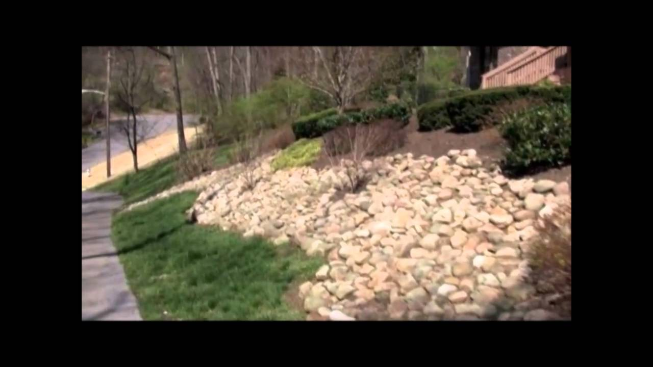 Video Showing A Slope Landscaped With Natural Stone And Shrubs.  Nashville Landscaping Slope Hill.mp4   YouTube