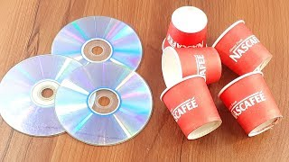 Amazing creative crafting out of Old cd disc & Coffee paper cup | Diy flower vase idea