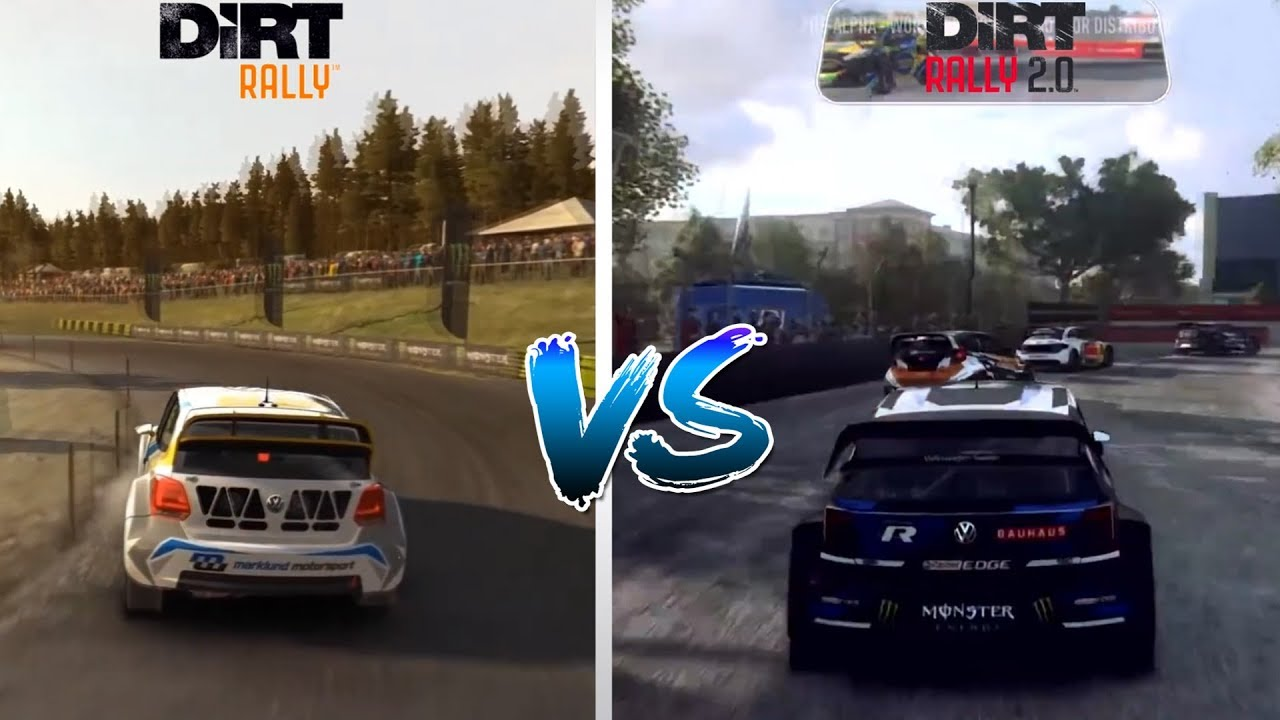 dirt rally 2 0 vs dirt rally gameplay rallycross compare. Black Bedroom Furniture Sets. Home Design Ideas