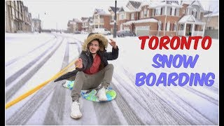 CRAZY SNOW BOARDING ON STREETS OF TORONTO!
