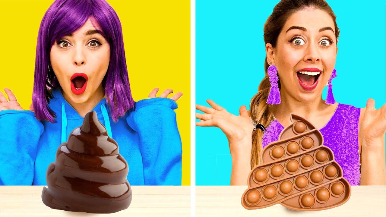 RICH Girl vs BROKE Girl Chocolate Fondue Challenge I Epic Battle with Rich vs Poor Snacks by Gotcha!