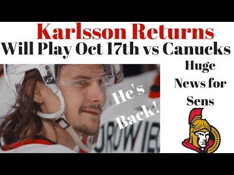 Erik Karlsson Returns - HUGE News for Ottawa Senators