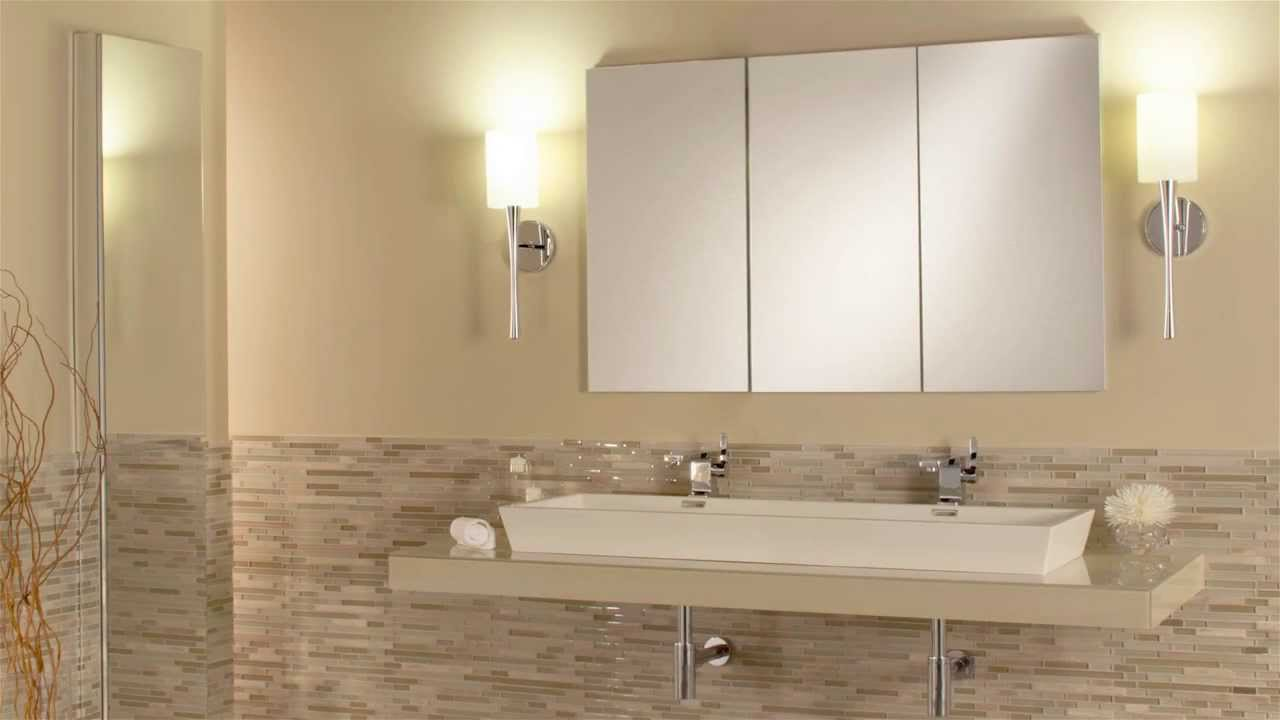 Tri View Mirrored Cabinets   YouTube