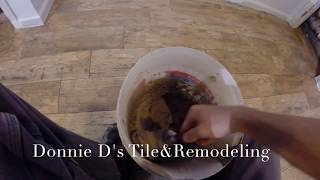 Wood Look Plank Tile Install Part 3 (grout)