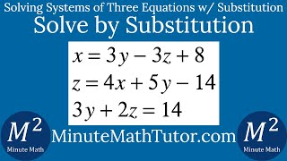 Solve x=3y-3z+8, z=4x+5y-14, 3y+2z=14 by Substitution