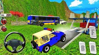 미국 경찰 지프 랭글러 자동차 운송업자-오프로드 멀티 트레일러 트럭 운전-Android 게임 플레이