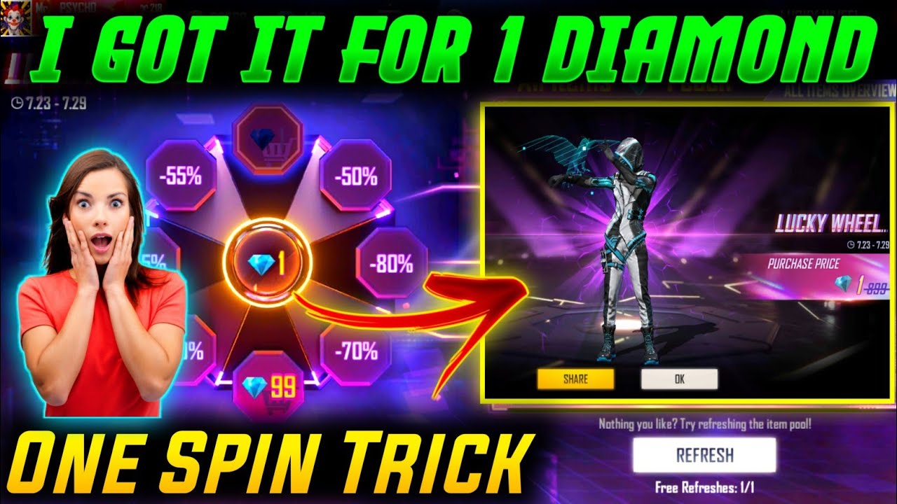 Free Fire New Lucky Wheel Event | Lucky Wheel Event 1 Diamond Trick | Free Fire New Event Today