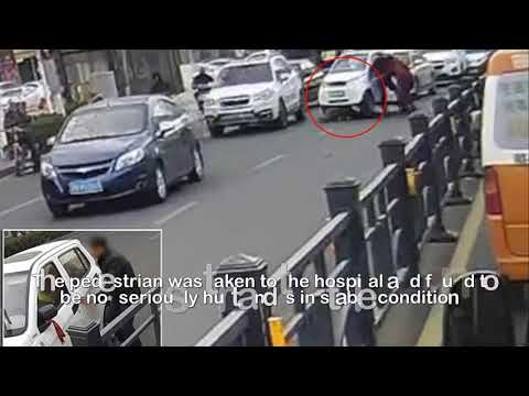 Chinese boy runs over a pedestrian in grandfather's car