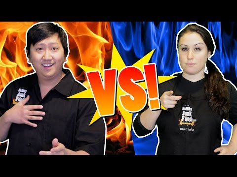 Thumbnail: COOK OFF w/ 5 Mystery Ingredients JP VS Julia | HellthyJunkFood