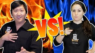COOK OFF w/ 5 Mystery Ingredients JP VS Julia  |  HellthyJunkFood
