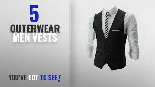 Top 10 Outerwear Men Vests [Winter 2018 ]: PXS Vest V-Neck Sleeveless Slim Fit Jacket Men Business