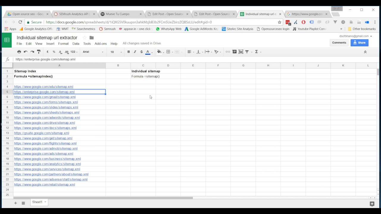 xml sitemap extractor in google sheets opensourceseo org youtube