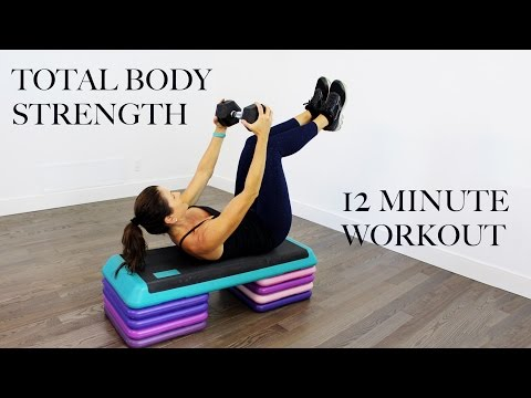 12 MINUTE TOTAL BODY STRENGTH WORKOUT STEP AND DUMBBELLS